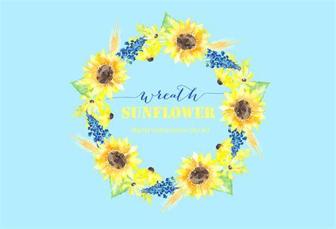 sunflower wreath watercolor clipart graphics creative