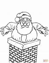Chimney Santa Coloring Stuck Christmas Printable Clipart Drawing Pages Claus Template Print Supercoloring Drawings Help Domain sketch template