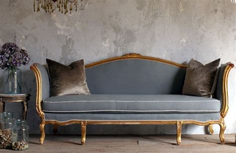 vintage shabby louis xv style gilt daybed sofa blue