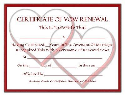 everlasting promises vow renewal certificate free