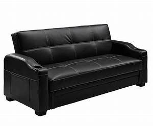 lillian 109cm black faux leather sofa bed special offer With sofa bed offers