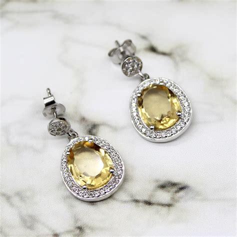 november birthstone jewelry natural citrine halo sterling silver earrings november