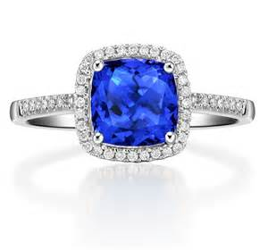 blue sapphire halo engagement rings 1 50 carat cushion cut blue sapphire and halo engagement ring in white gold jewelocean