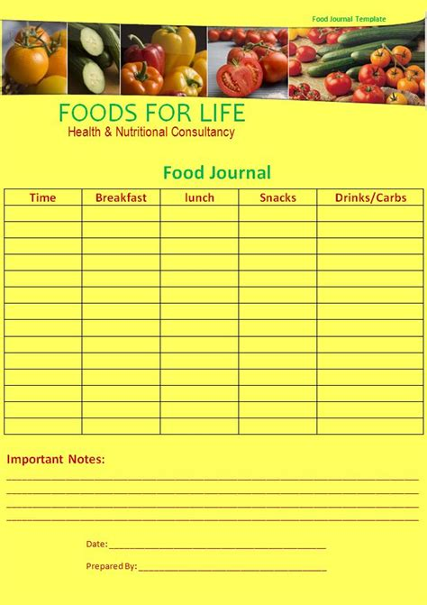 food journal template  word templates