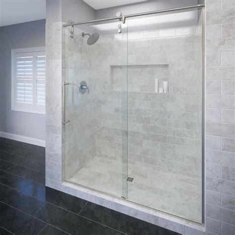 www framelessshowerdoors shop basco roda rolaire 57 in to 59 in frameless shower door at lowes com