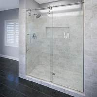 frameless shower door Shop Basco RODA Rolaire 57-in to 59-in W Brushed Stainless Steel Sliding Shower Door at Lowes.com