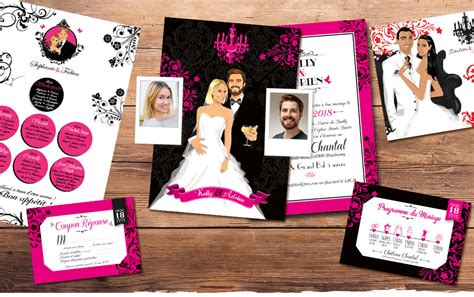 faire part mariage blanc et noir faire part de mariage original baroque noir et blanc et
