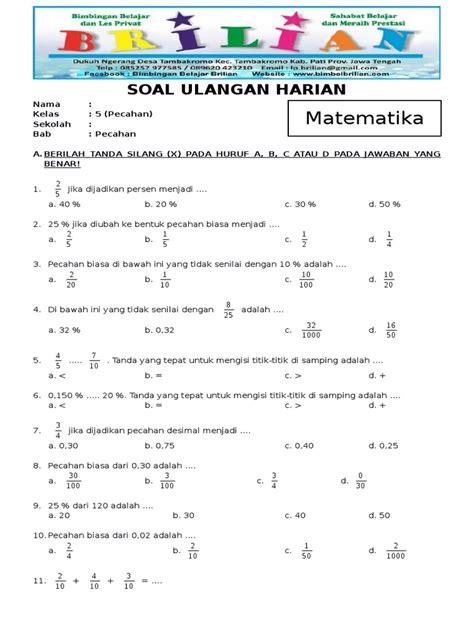 Video ini membahas soal dan kunci jawaban yang terdapat pada buku siswa senang belajar matematika kelas 5 sd halaman 13. Soal Matematika Kelas 5 SD Bab 6 Pecahan Dan Kunci Jawaban ...
