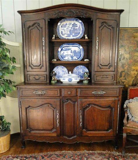 antique french hutch  bookcase  carved scalloped oak