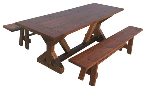 rustic outdoor dining table trestle farm table with benches rustic outdoor dining