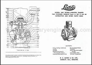 Lister A  U0026 B Stationary Engine Instruction  U0026 Parts Book  Lister A  U0026 B Manual