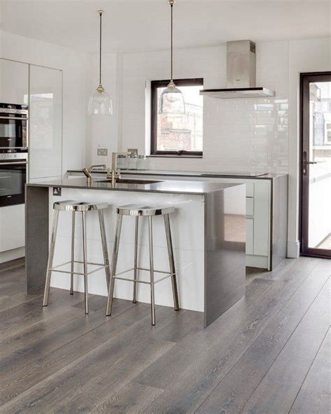 grey hardwood floors ideas modern white kitchen design