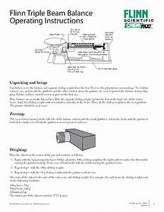 Flinn Triple Beam Balance Operating Instructions