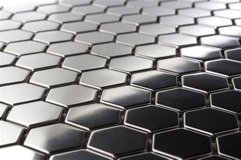 stainless steel tile 10 95sf hexagon 1 quot stainless steel tiles earthworks metal