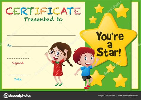 certificate templates with photos certificate template with kids and stars stock vector