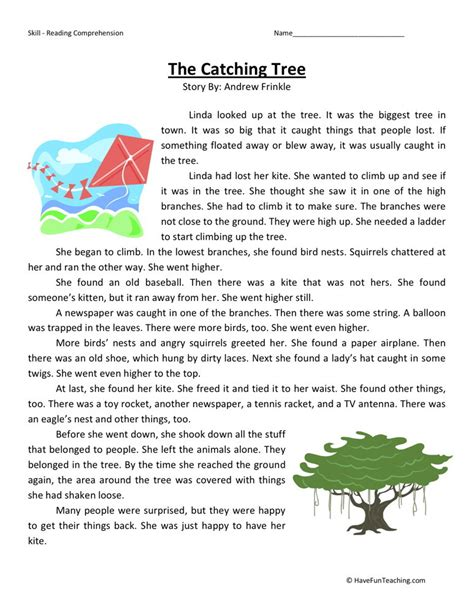 Reading Comprehension Worksheet  The Catching Tree