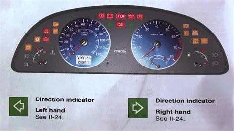 citroen xsara dashboard warning lights symbols youtube
