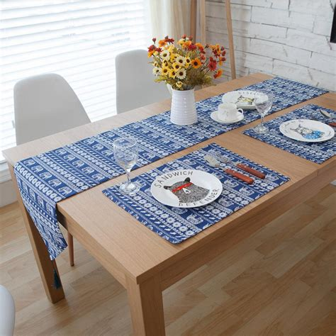 set of blue table ls 3 5 7 pieces linen cotton bohemia table runner and