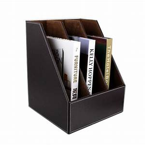 3 slot wooden leather desk file book document box shelf With document shelf