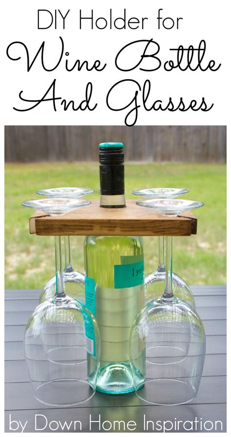 diy wine glass rack how to make a diy holder for a wine bottle and glasses