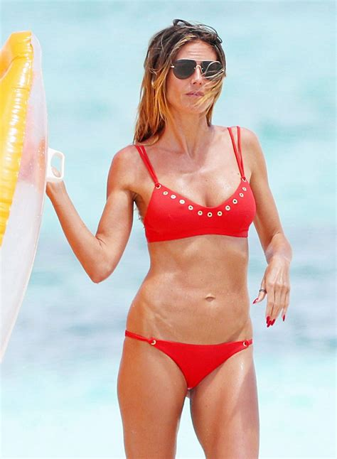 Heidi Klum In Bikini At The Beach On Turks And Caicos