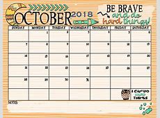 October 2018 Calendar Document