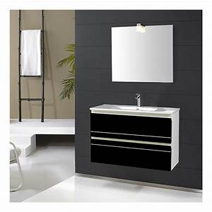 Meuble de salle de bain simple vasque 80 cm ritz noir for Meuble salle de bain simple vasque 80 cm