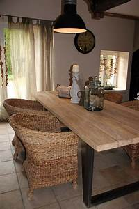 table bois et metal pour salle a manger style campagne With salle a manger industrielle chic