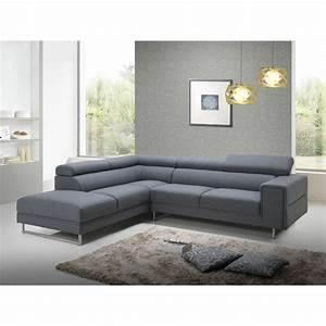 Canapé D Angle 5 Places : canap d 39 angle c t gauche design 5 places avec m ridienne mathis en tissu gris fonc ~ Teatrodelosmanantiales.com Idées de Décoration