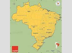 Savanna Style Simple Map of Brazil, cropped outside