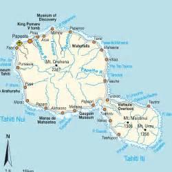 Tahiti Island French Polynesia Map