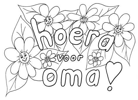 Kleurplaat Hoera Opa Oma by Kleuren Nu Boeket Voor Oma Kleurplaten