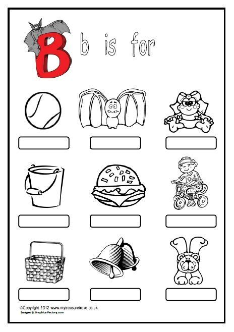 free b is for a phonics worksheet where children name label and colour the pictures of things
