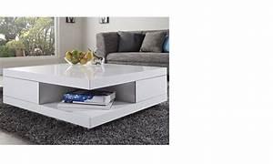 Table Basse Carrée Blanc Laqué : table basse carr e design blanc laqu avec 2 tiroirs marne ~ Teatrodelosmanantiales.com Idées de Décoration