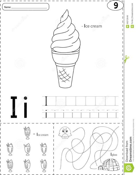 cartoon ice cream  igloo alphabet tracing worksheet