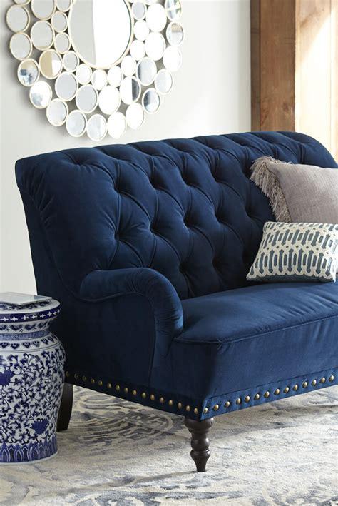 chas navy blue velvet loveseat home decor decor home