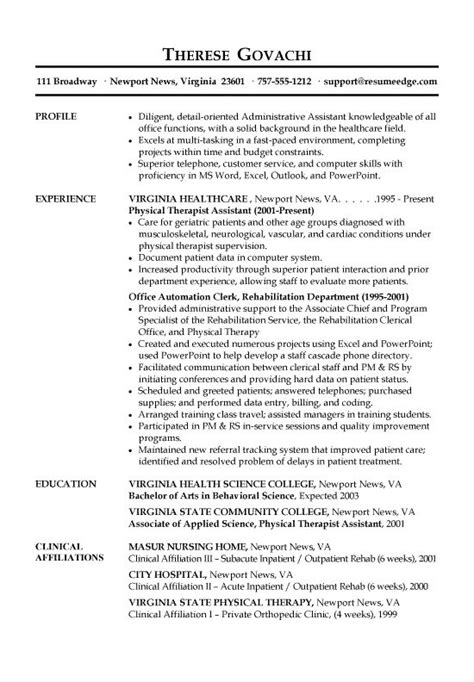 receptionist resume exle receptionist and resume