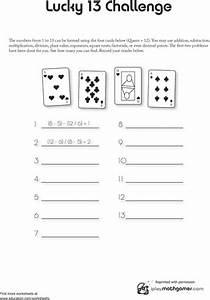 Math Card Game: Lucky 13 | Worksheet | Education.com