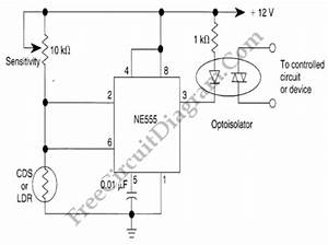 hysteresis for dark activated relay ne555 circuit With dark and light activated relay circuit diagram