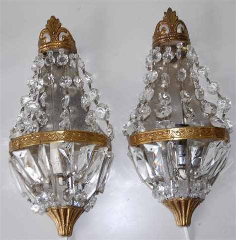 pair french vintage bronze crystal 1 light wall sconces