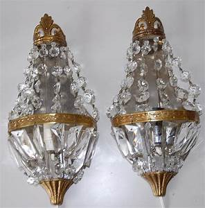 pair french vintage bronze crystal 1 light wall sconces With vintage wall sconces