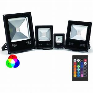 Projecteur led couleur rgb interieur exterieur extra plat for Carrelage adhesif salle de bain avec projecteur led 100w