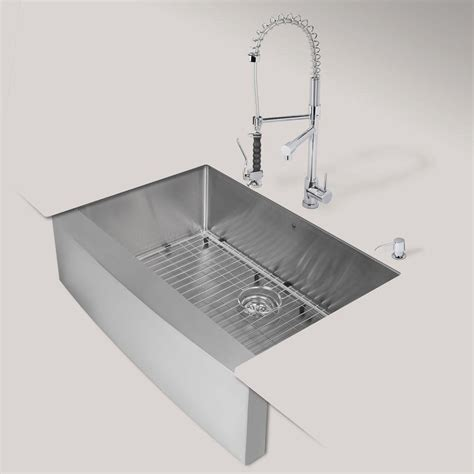 Apron Sink Home Depot Canada by Vigo All In One Farmhouse Apron Front Stainless Steel 33