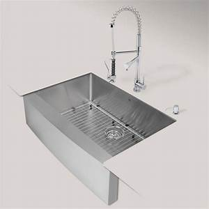 vigo all in one farmhouse apron front stainless steel 33 With apron front sink with faucet holes