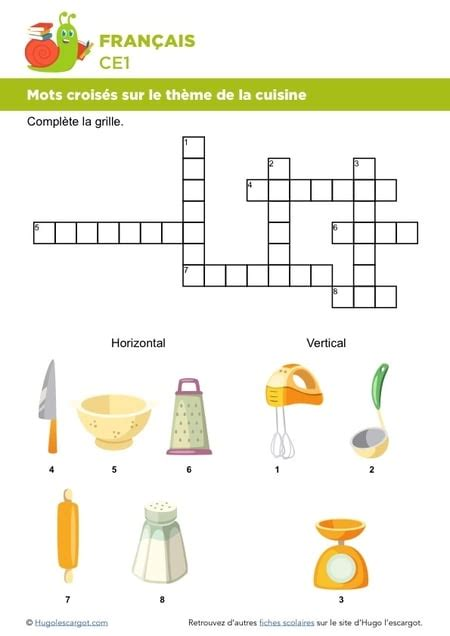 exercice recette de cuisine mots croisés sur le thème de la cuisine