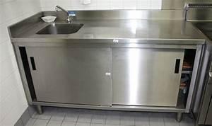 Evier Inox Professionnel : meuble evier a 2 portes coulissantes adosse en inox ~ Edinachiropracticcenter.com Idées de Décoration