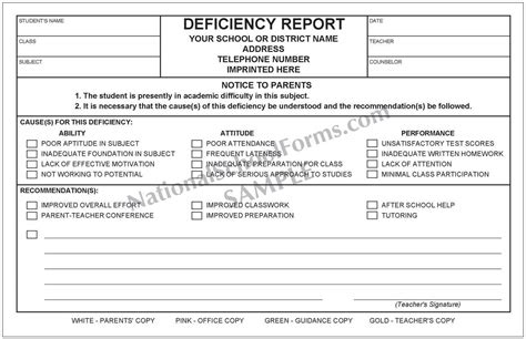 deficiency report form deficiency report 4 part form nationalschoolforms com