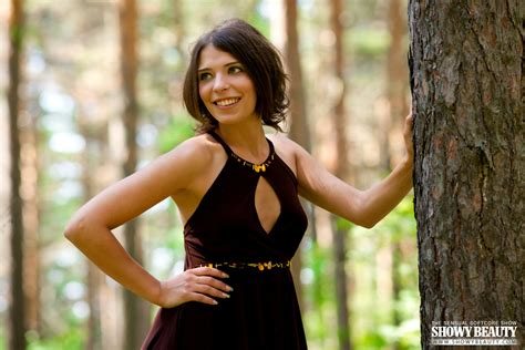 Hot Girl Takes Off Her Dress While Walking In The Woods
