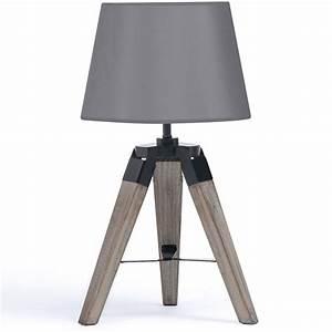 Lampe De Chevet Garçon : lot de 2 lampes de chevet tr pied en bois grises accessoires maiso ~ Teatrodelosmanantiales.com Idées de Décoration