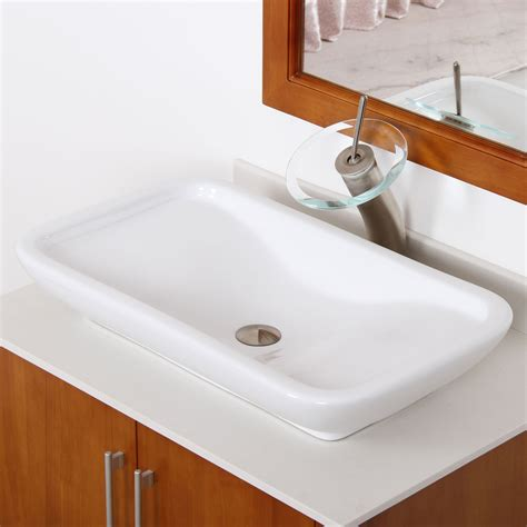 Bathroom Sinks by Elite Ceramic Bathroom Sink With Unique Rectangle Design
